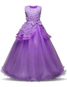 Vestido Color Morado 4 A 14 Años Niñas Fiesta Marca Nnjxd