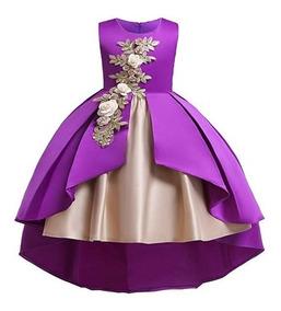 Vestido Color Morado Para Fiesta De Niñas Marca Aimjchld