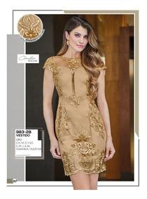 Vestido Color Oro Bordado 983 28 Cklass 2 19