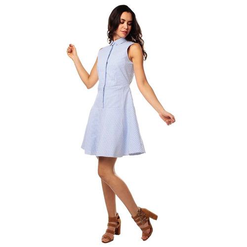 vestido color siete para mujer - azul