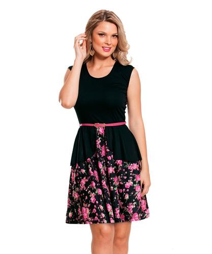 vestido com basque floral romântico