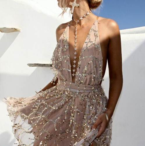 vestido com forro feminino verão poliéster brilho sexy luxo