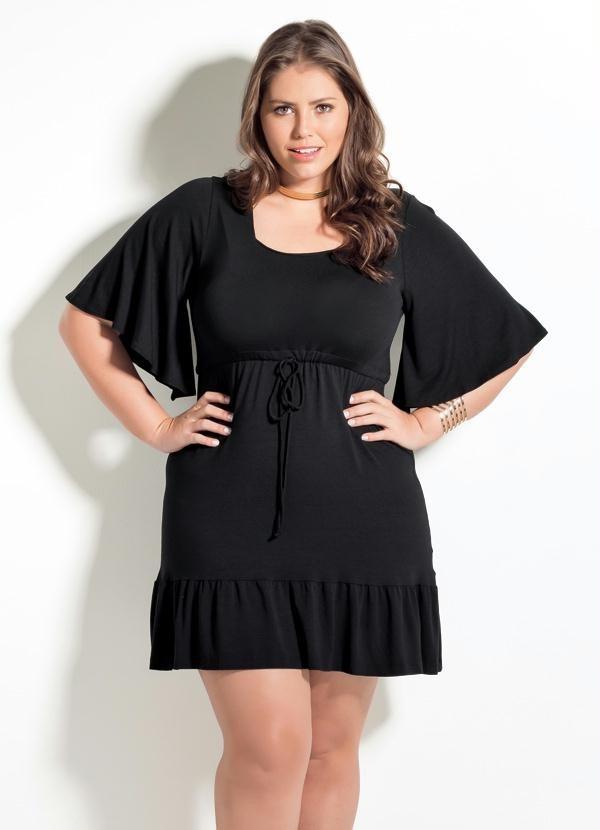 6828fcbaa vestido com mangas ampla preto plus size - quintess. Carregando zoom.