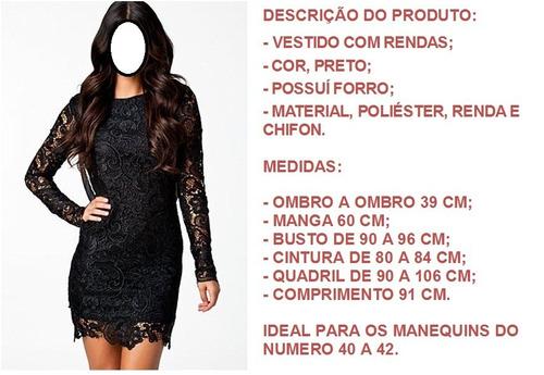 vestido com renda, cor preto. sale free, a sua loja virtual