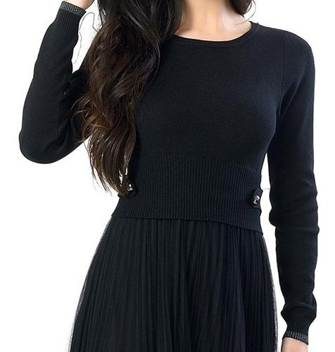 vestido com saia plissada  feminina miss yes q-19171
