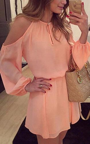 vestido com vazado no ombro coleção nova