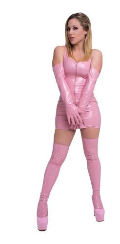 vestido con cierre en frente ajustado vinilo rosa