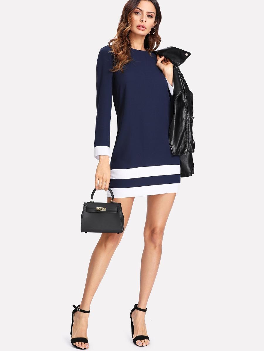 Vestido Con Costura En Dos Tonos - $ 518.48 en Mercado Libre