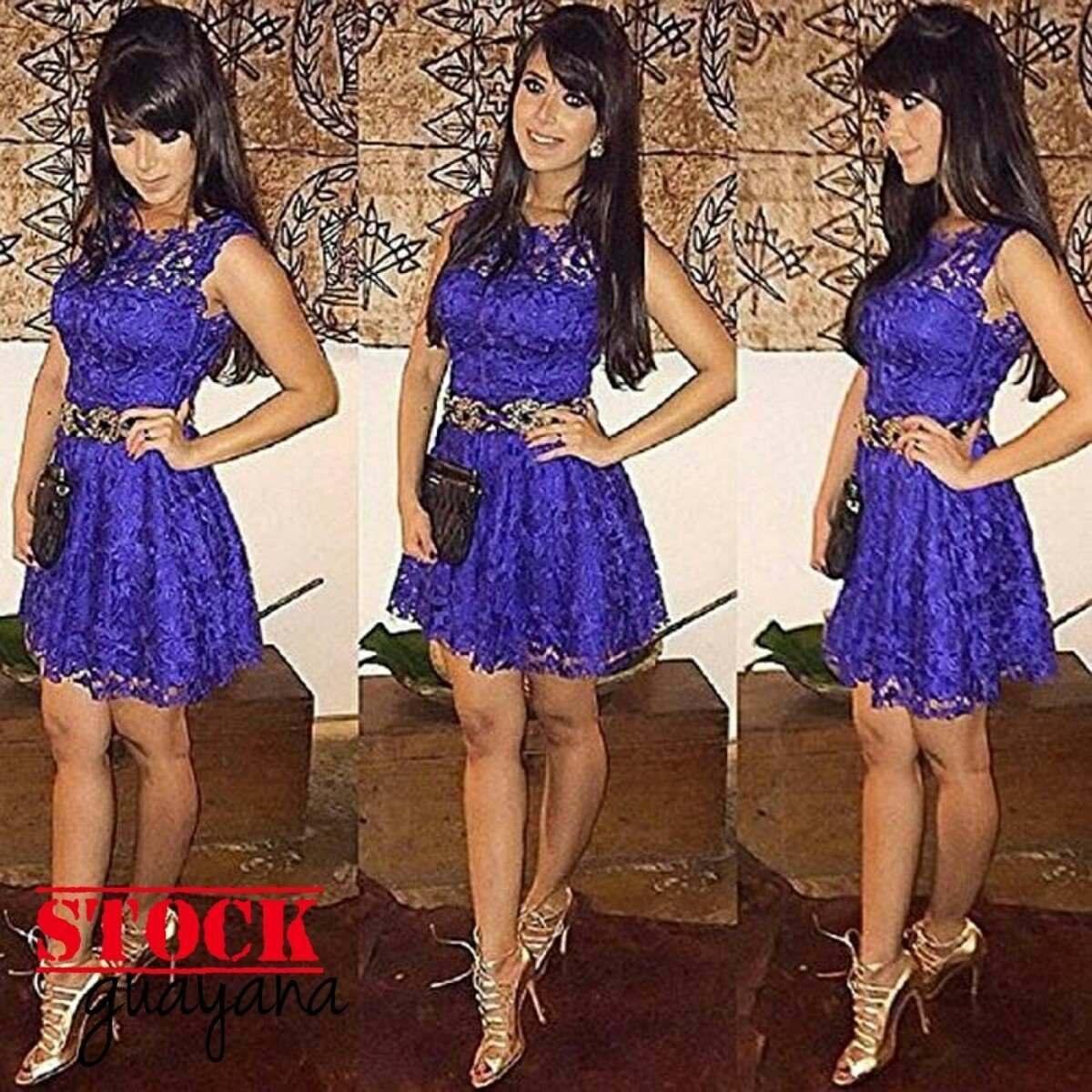 Vestido Con Encajes Tipo Cóctel Color Morado - Bs. 15.000,00 en ...