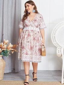Vestido Con Estampado Floral Con Encaje Talla Extra M854