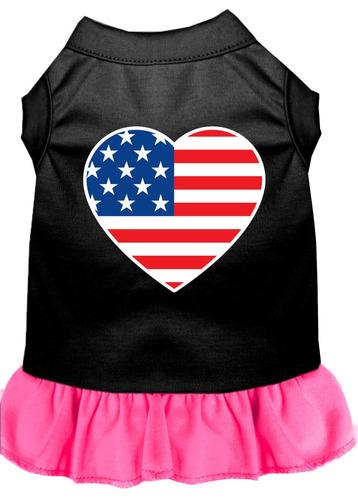vestido con impresión pantalla corazón americano bandera n