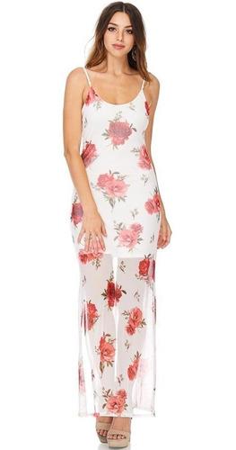 vestido con transparencia flores