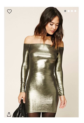 vestido contemporaneo metalico forever21 temporada 2018