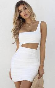Vestido Corto Ajustado Cortes Curvos Blanco Por Encargue