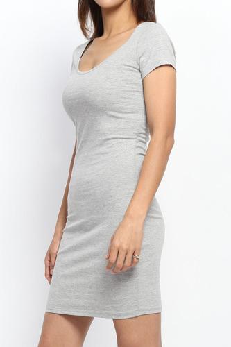 vestido corto algodón con lycra sexy mini corto manga corta