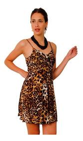 Vestido Corto Animal Print Modelo Lion Brishka M 0046