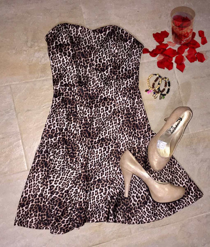 vestido corto  animal print talla s-m 20