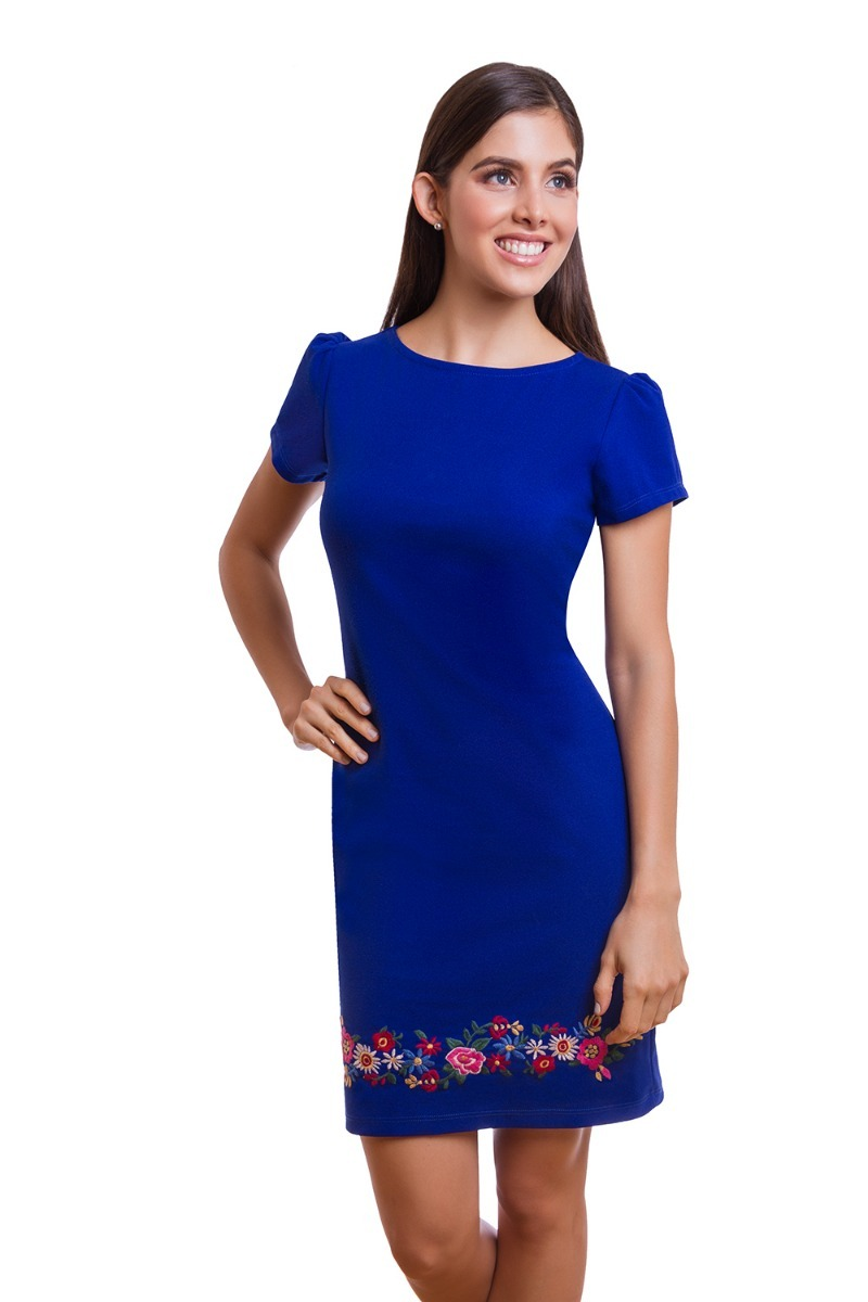 3c8795a2e3 vestido corto azul con bordado y manga corta devendi denimco. Cargando zoom.