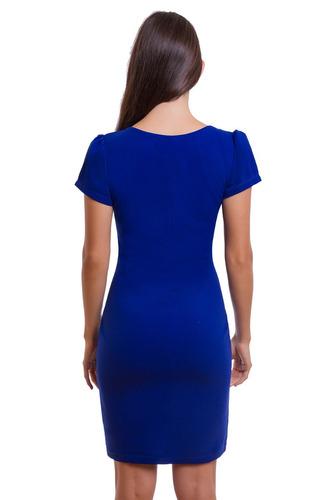 vestido corto azul con bordado y manga corta devendi denimco