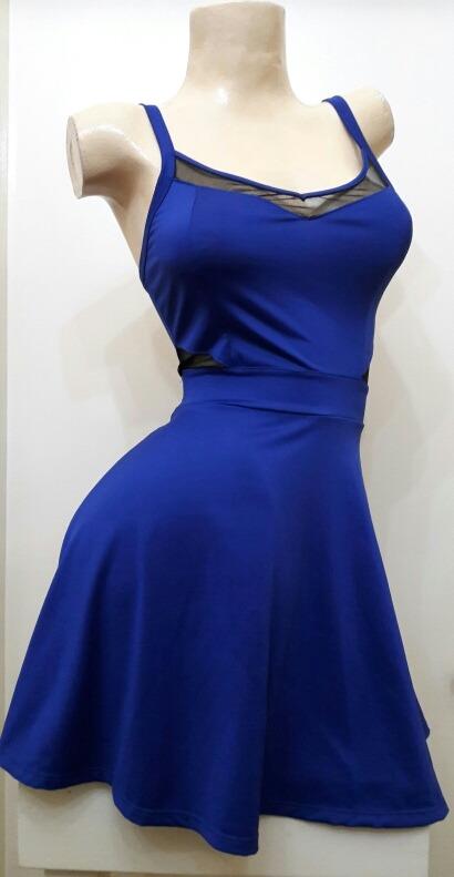 4b017896d Vestido Corto Azul Evasé