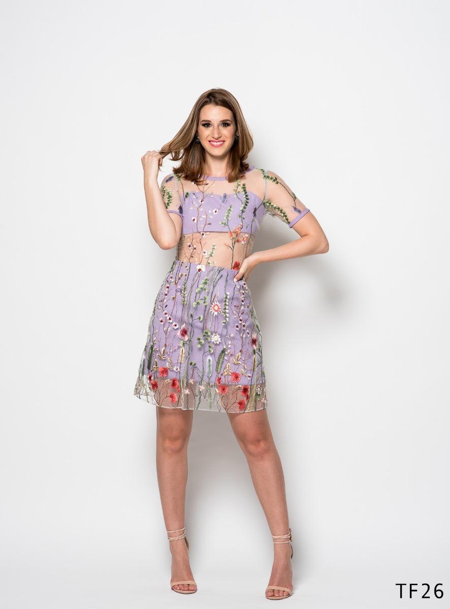 Vestido Corto Bordado De Flores - $ 1,900.00 en Mercado Libre
