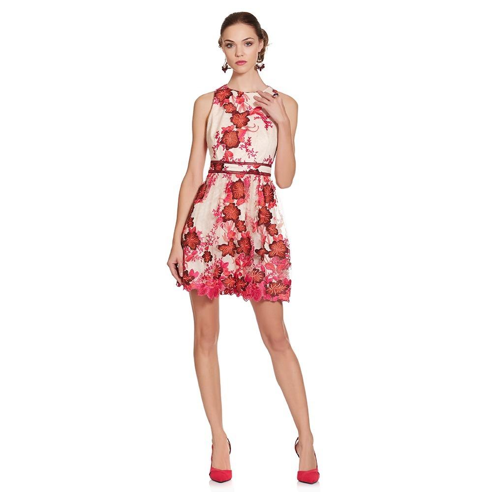 Vestido Corto Bordado Floral Eva Brazzi