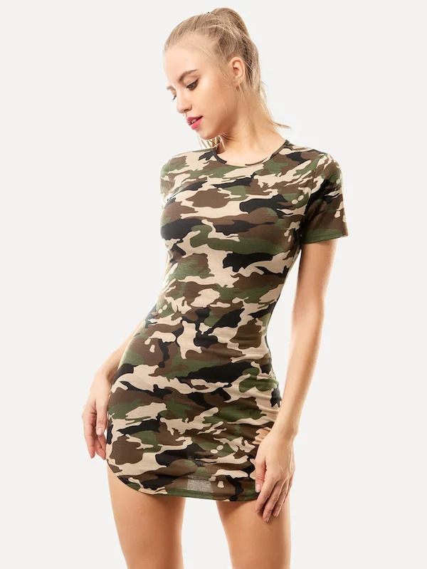 Militar Mujer Vestido Camuflaje Ropa Corto Vestidos Casuales 8nNPkOX0w