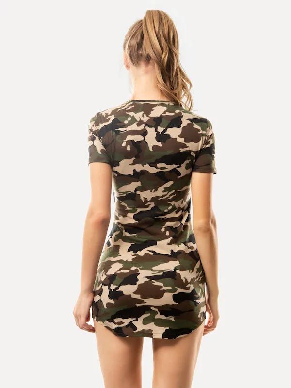a0eab7535 Vestido Corto Camuflaje Militar Vestidos Casuales Ropa Mujer ...