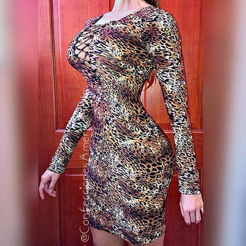 vestido corto casual coctel strech animal print lunares pepa