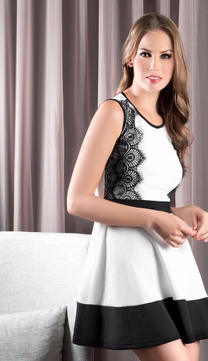 Vestidos cortos color blanco y negro