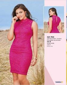 Vestido Corto Color Fiusha Textura De Encaje Terra 021 704