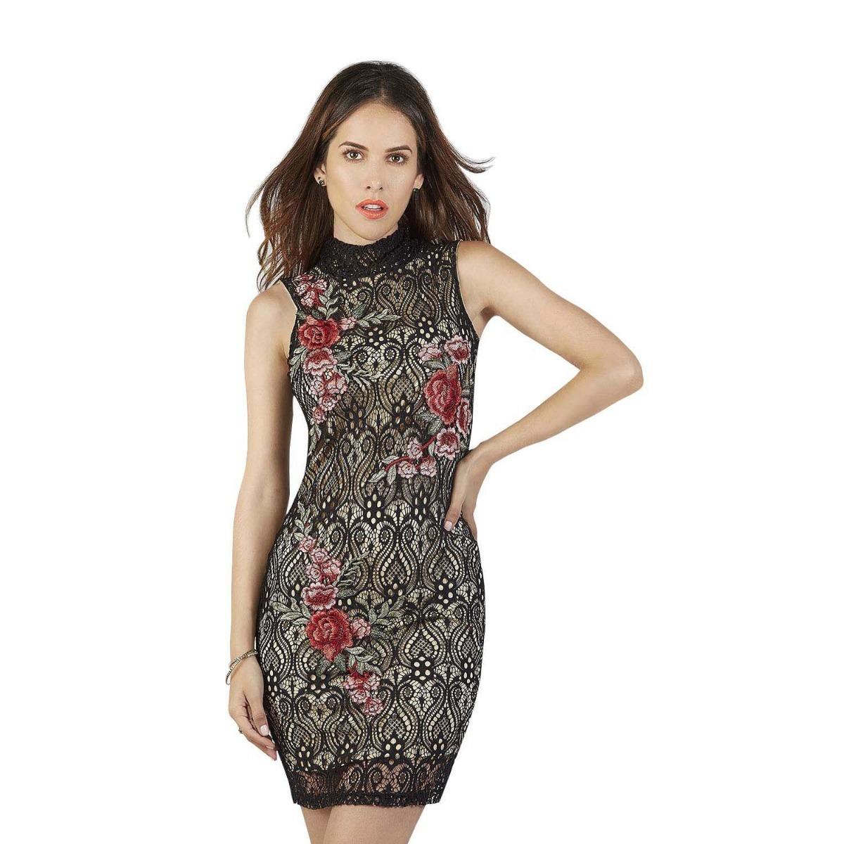 948789b334f22 vestido corto color negro con flores sin manga cuello alto. Cargando zoom.
