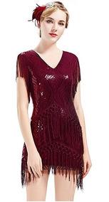 Vestido Corto Color Vino Gatsby 1920s