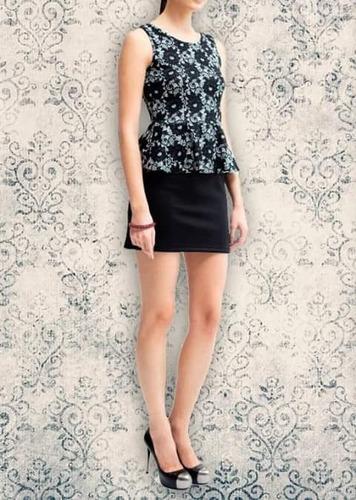 vestido corto con peplum marca biography dia y noche