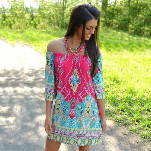 vestido corto cuello bandeja tribal casual rosa mandala //