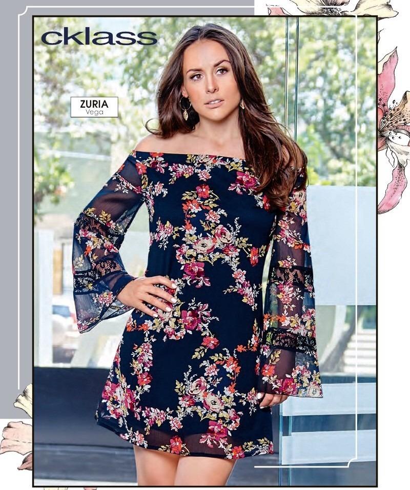 promoción adecuado para hombres/mujeres busca lo mejor Vestido Corto Dama Manga Larga Floreado Cklass Talla Eg