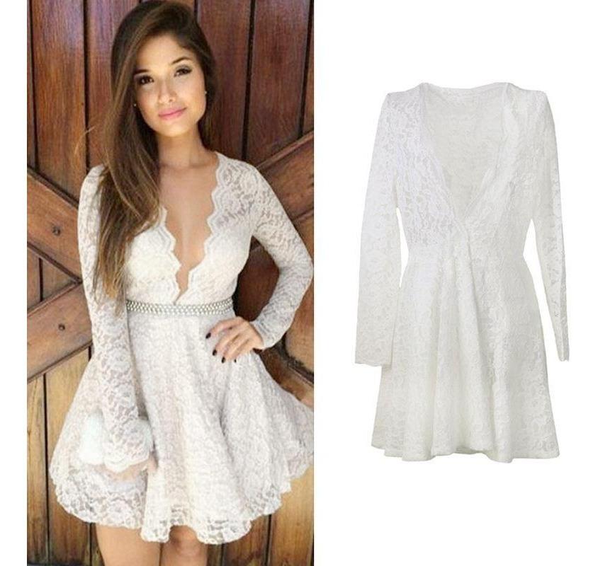 Vestido Corto De Encaje Blanco Leer Descripcion