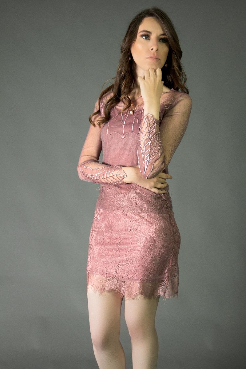 Vestido Corto De Encaje Color Rosa Palo