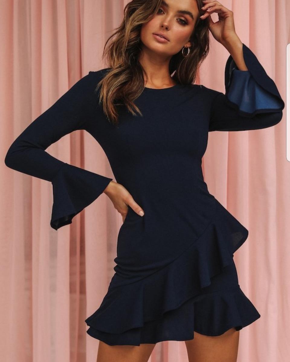 95a91c61d vestido corto de fiesta azul marino. Cargando zoom.