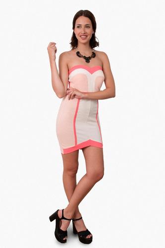 vestido corto de fiesta strapless, brishka m-0045