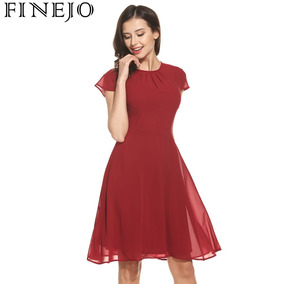 2bf699e50 Vestido Corto De Gasa Manga Corta Falda Circular