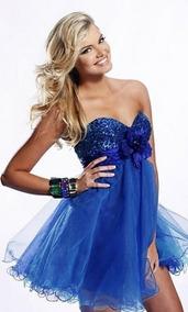 Vestido Para 15 Años Corto Vestidos Azul En Mercado Libre