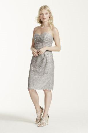 vestido corto encaje color gris metalizado. medium