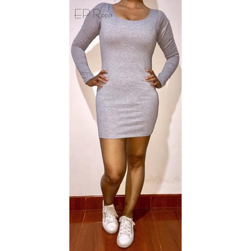 vestido corto escotado juvenil manga larga moda casual mujer
