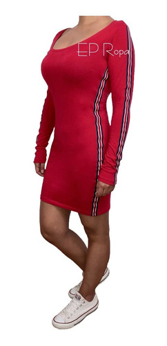 vestido corto escotado juvenil rayas laterales moda mujer