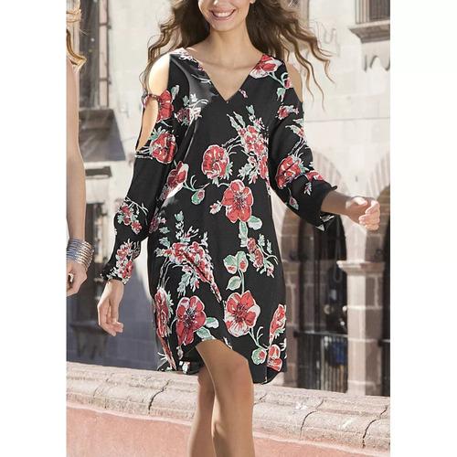 vestido corto estampado floral escote en v