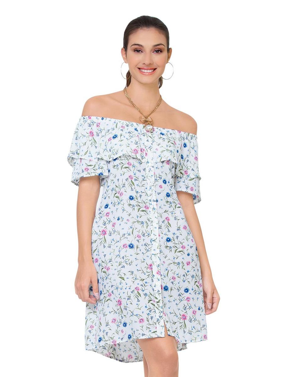 297bf0f131 vestido corto estampado flores escote con holanes hombros c. Cargando zoom.
