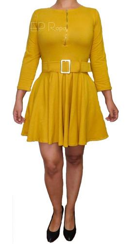 vestido corto falda rotonda cinturón formal elegante juvenil
