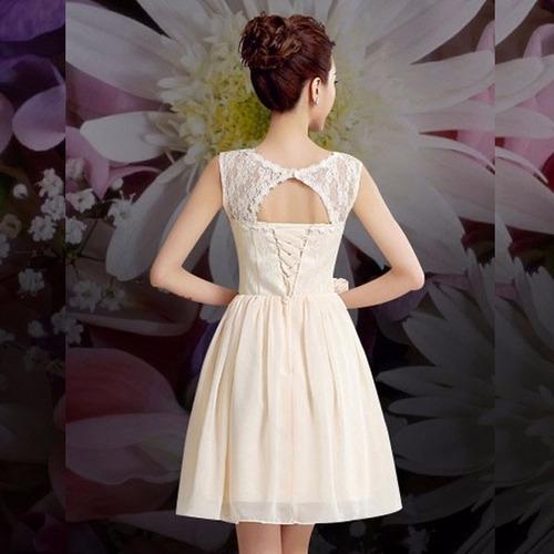 vestido corto fiesta escote ilusión encaje abertura espalda