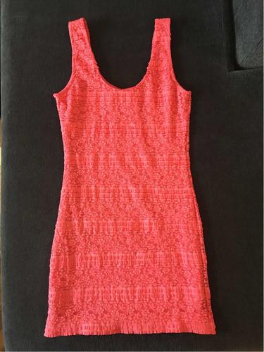 vestido corto forever 21. fucsia elastizado.talle m